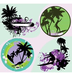 Summer frames set with palm trees vector