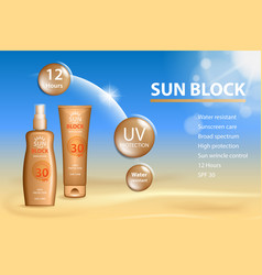 sunblock ads template sun protection cosmetic vector image