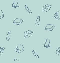Survival kit outline isometric icons pattern vector