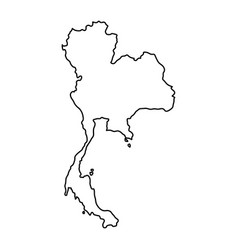 Thailand map of black contour curves of vector