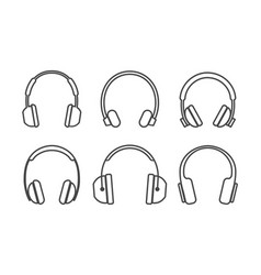 thin line headphones icons vector image