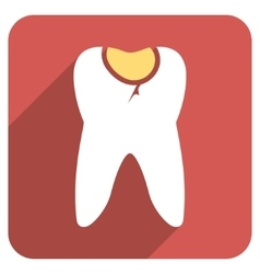Tooth Caries Flat Rounded Square Icon with Long vector