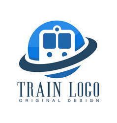 train logo original design blue railway transport vector image