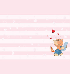 valentines card with cute tabby cat i vector image