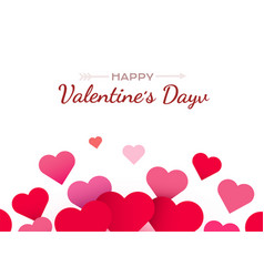 valentines day background with red hearts cute vector image