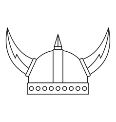 Viking helmet icon outline style vector