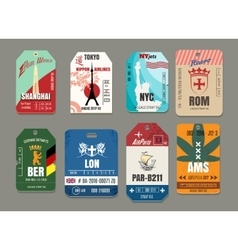 Vintage baggage or luggage paper tags set vector