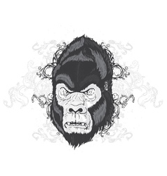 Vintage t-shirt design with gorilla head vector