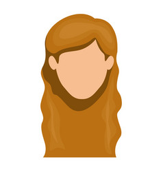 White background of faceless woman with long wavy vector