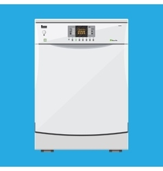white modern closed kitchen dishwasher vector image