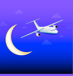 white passenger plane flying among clouds in vector image