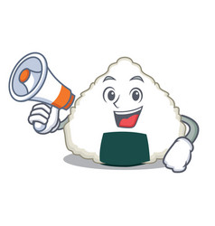 With megaphone onigiri character cartoon style vector
