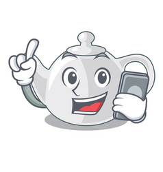 With phone porcelain teapot with a pattern cartoon vector