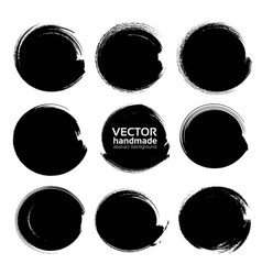 abstract black circle textured ink strokes vector image
