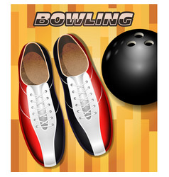 bowling shoes and ball on bowling court parquet vector image vector image
