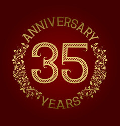 golden emblem of thirty fifth anniversary vector image