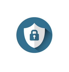 lock on shield icon protection and security vector image