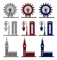 London Symbols Set - London Eye Big Ben vector image vector image