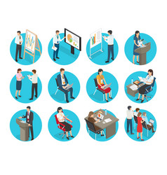 set of business icons with office workers vector image vector image