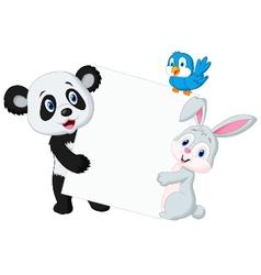 Animal cartoon with blank sign vector image