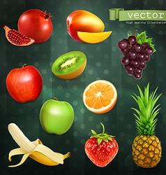 Fruits set of on dark background vector image vector image
