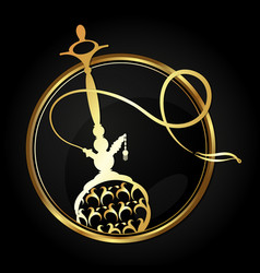 hookah with a gold ornament in a circle vector image vector image