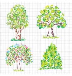 set of beautiful green trees vector image
