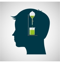 silhouette head chemical experiment laboratory vector image vector image