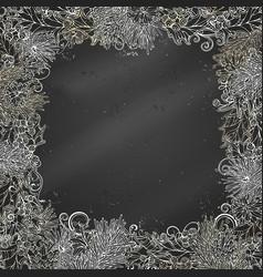 Chalk christmas festive frame on blackboard vector