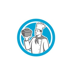 Chef Cook Holding Up Pot Retro vector image vector image