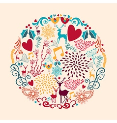 Merry Christmas circle shape full of love vector image