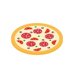 Pizza icon in isometric 3d style vector image