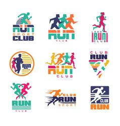 run sport club logo templates set emblems for vector image