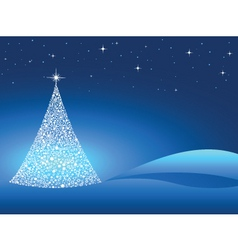 starry Christmas tree vector image vector image