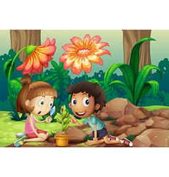 A girl and a boy looking at the plant with a vector image vector image