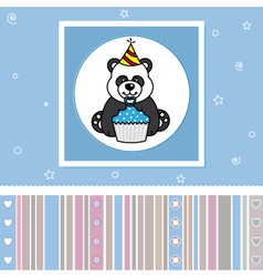 Bear with a cupcake vector image