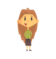 girl with long brown hair smiling primary school vector image
