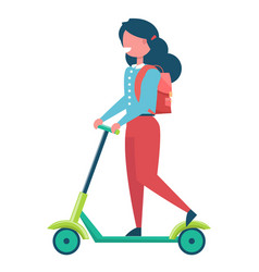 girl with rucksack riding on kick scooter vector image vector image