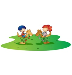 kidsplaying on spring horse vector image vector image