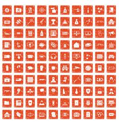 100 hacking icons set grunge orange vector image