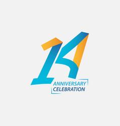 14 year anniversary celebration template design vector