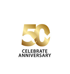 50 years anniversary celebrate gold template vector