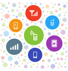 7 cellular icons vector image