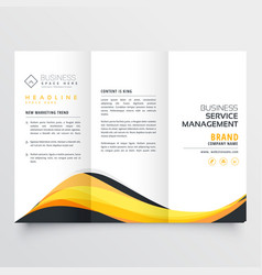 Abstract yellow and black wave trifold brochure vector