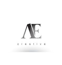 Ae logo design with multiple lines and black vector