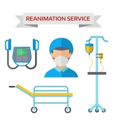 Ambulance reanimation symbols vector