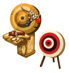 Ancient wooden darts and clay jug isolated vector