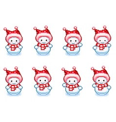Ani Snowman Dancing Pixel vector