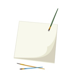 Artist Brushes Lying on A Blank Sketchbook vector image vector image