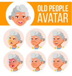 asian old woman avatar set face emotions vector image